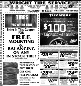 FREE Mounting & Balancing On Any in Stock Tire!