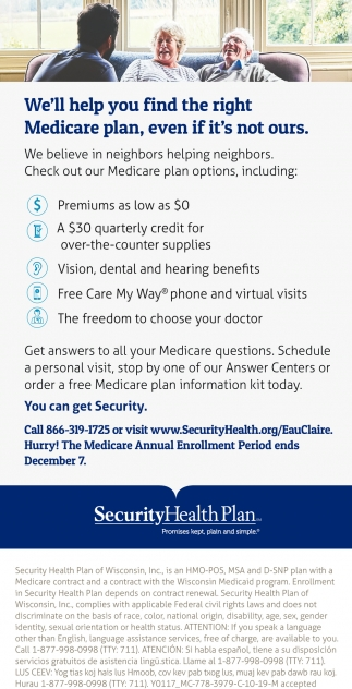 We'll Help You Find the Right Medicare Plan