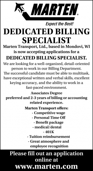 Dedicated Billing Specialist