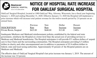 Notice of Hospital Rate Increase