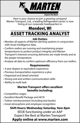 Asset Tracking Analyst