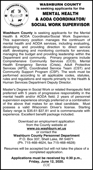 Mental Health & AODA Coordinator/Social Work Supervisor