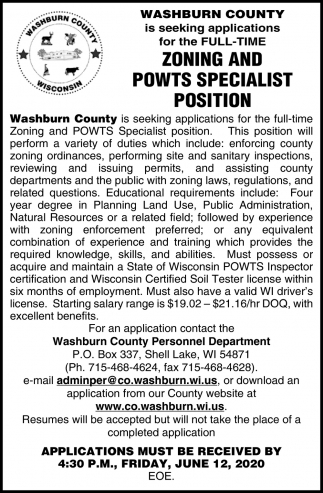 Zoning and Powts Specialist Position