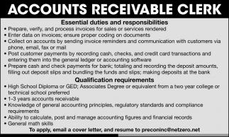 Accounts Receivable Clerk