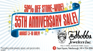 50% Off Store-Wide 55th Anniversary Sale!