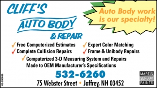 Auto Body Work Is Our Specialty!
