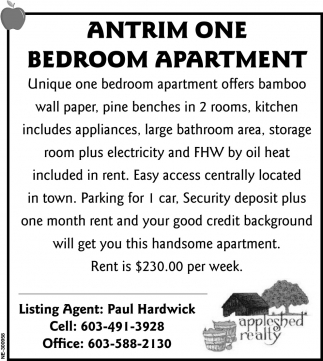 Antrim One Bedroom Apartment