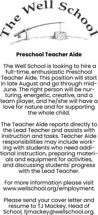 Preschool Teacher Aide