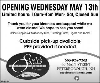 Opening Wednesday May 13th