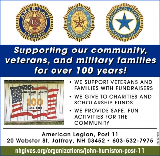Supporting Our Community, Veterans, And Military Families For Over 100 Years!