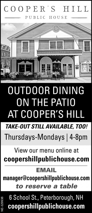 Outdoor Dining On The Patio At Cooper's Hill