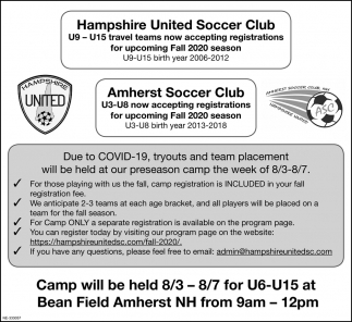 Camp Will Be Held 8/3-8/7