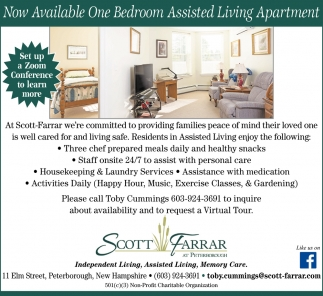 Now Available One Bedroom Assisted Living Apartment
