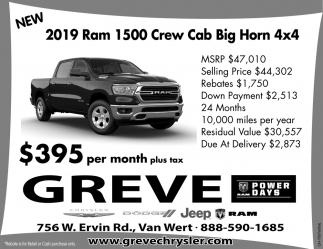new 2019 ram 1500 crew cab big horn 4x4 greve chrysler dodge inc van wert oh the lima news