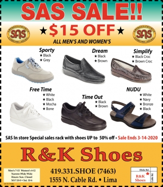Sas Sale! $15 Off, R \u0026 K Shoes, Lima, OH