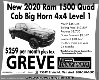 new 2020 ram 1500 quad cab greve chrysler dodge inc van wert oh the lima news