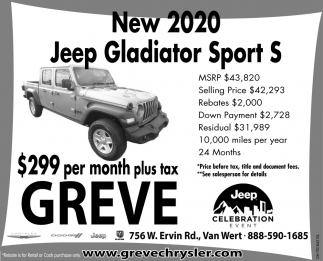 new 2020 jeep gladiator sport s greve chrysler dodge inc van wert oh the lima news local ads
