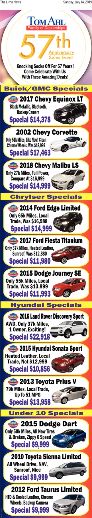 57th Anniversary Sales Event