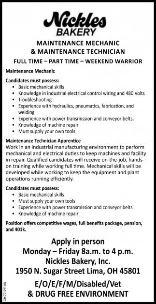 Maintenance Technician - Maintenance Mechanic