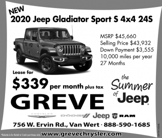 New 2020 Jeep Gladiator Sport S 4x4 24S