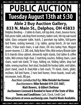 Public Auction August 13th