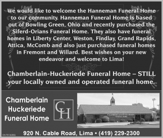 We would like to welcome the Hanneman Funeral Home to our community