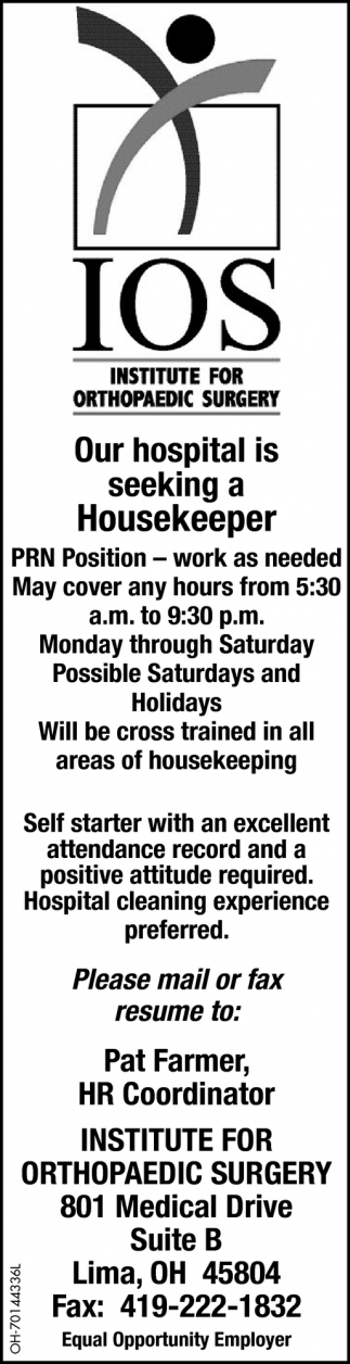 Our hospital is seeking a Housekeeper