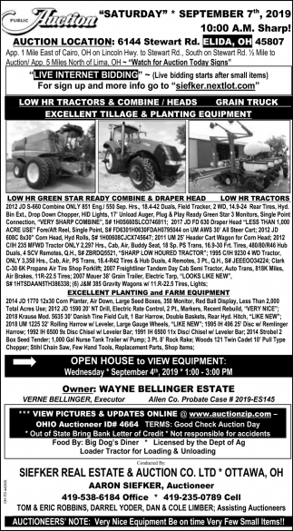 Public Auction September 7th