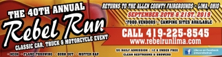 The 40th Annual Rebel Run September 20th & 21st