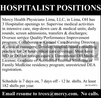 Hospitalist Positions