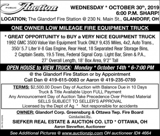 Public Auction - October 30th