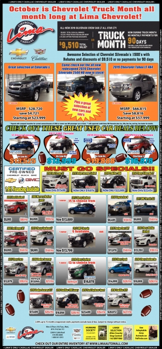 October is Chevrolet Truck Month all month long at LimaChevrolet!