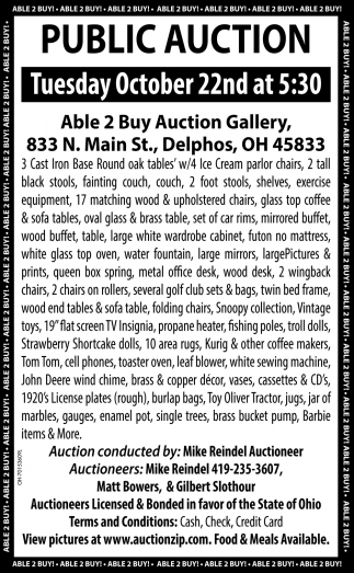 Public Auction - October 22nd