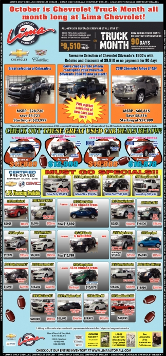 October is Chevrolet Truck Month all month long at Lima Chevrolet!