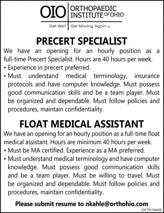 Precert Specialist ~ Float Medical Assistant
