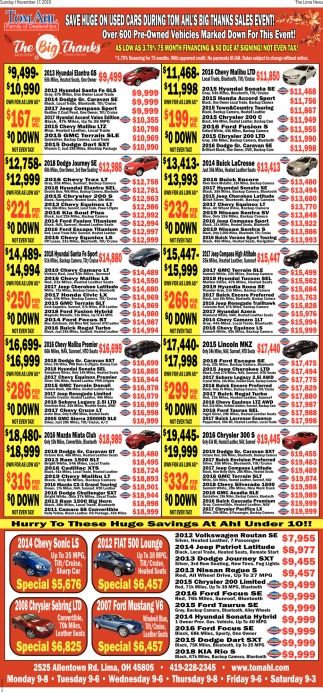 Save Huge On Used Cars During Tom Ahl's Big Thanks Sales Event!