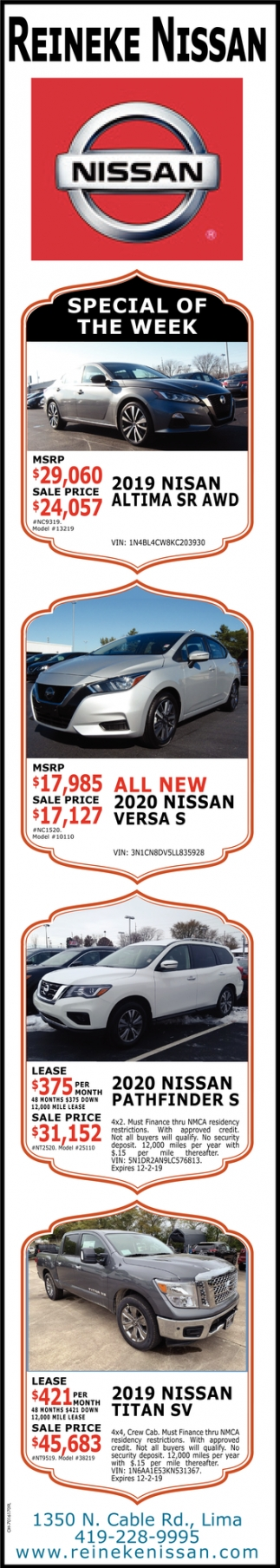 Special of the Week - 2019 Nissan Altima SR AWD