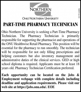 Part - Time Pharmacy Technician