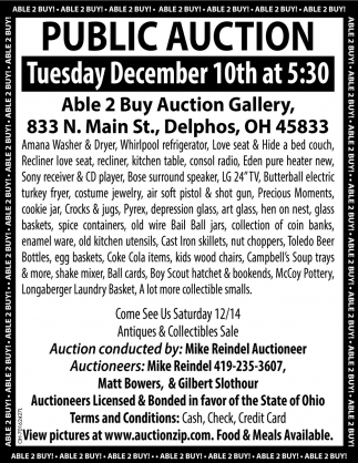 Public Auction - December 10th