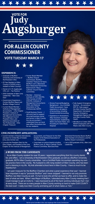 Vote For Judy Augsburger For Allen County Commissioner