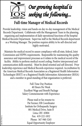 Full-time Manager of Medical Records