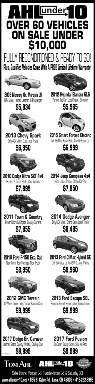 Over 60 Vehicles On Sale