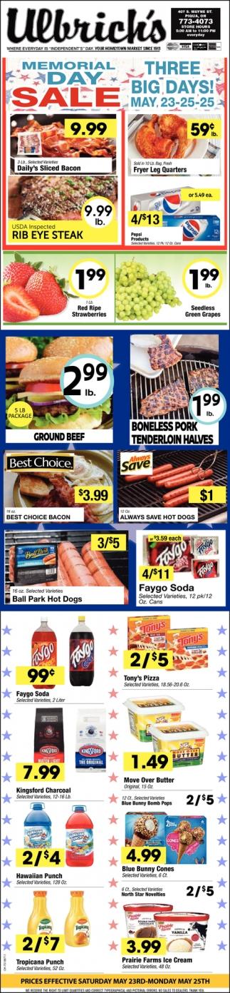 Memorial Day Sale, Ulbrich's IGA Super Market, Piqua, OH