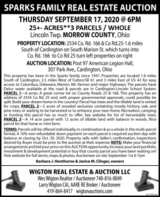 Sparks Family Real Estate Auction