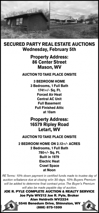Secured Party Real Estate Auctions - February 5th