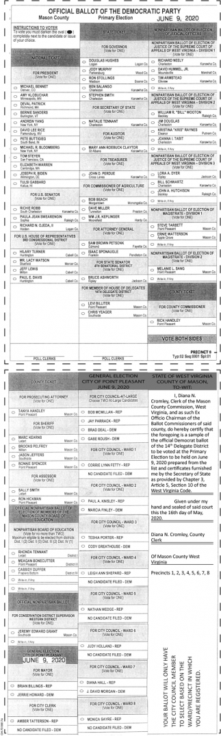 Official Ballot of the Democratic Party