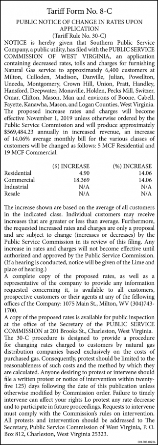 Public Notice of Change in Rates Upon Application