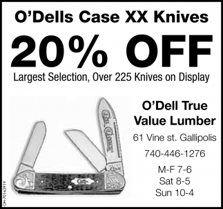 20% Off Largest Selection, Over 225 Knives on Display