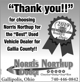 thank you for choosing norris northup for the best used vehicle dealer for gallia county norris gallipolis daily tribune