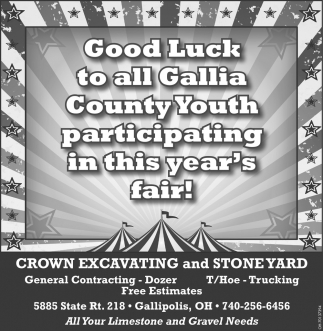 Good Luck to all Gallia County Youth participating in this year's fair!